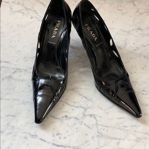 Authentic Black Prada Heels - 37.5
